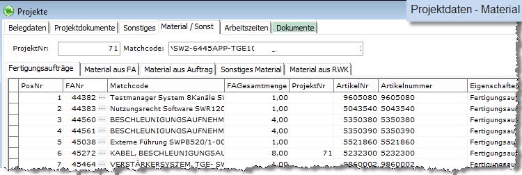 Nachkalkulation Projekt Materialdaten