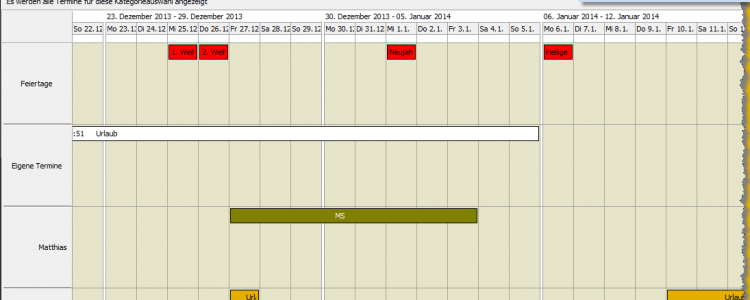 ToDo Kalender Kategorieansicht